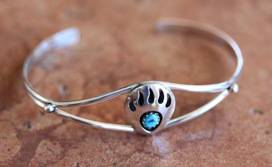 Navajo Sterling Silver Turquoise Bear Paw Bracelet