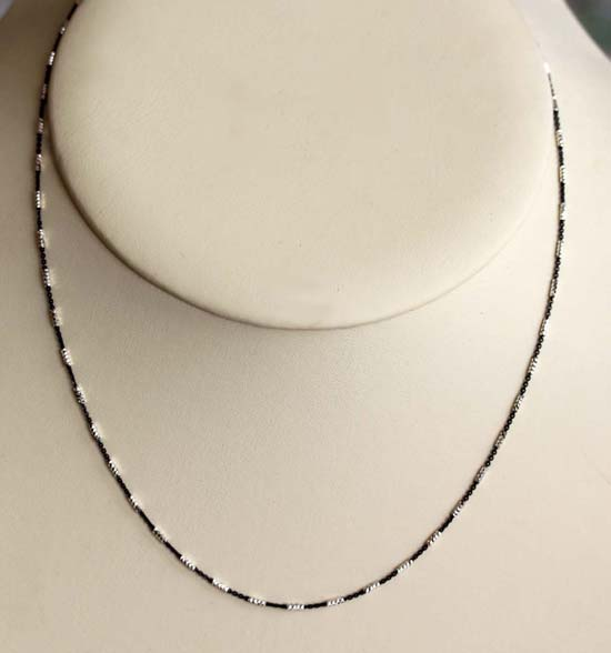 925 20 Inch Long Black and White Sterling Silver Chain