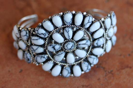 Navajo Silver Howlite Cluster Bracelet by J Williams