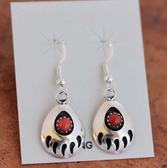 Navajo Coral Bear Paw Earrings