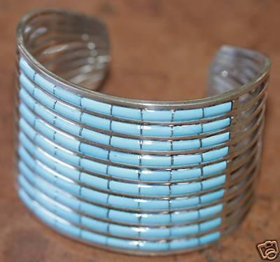 Zuni Sterling Silver Turquoise Bracelet by AL Wallace