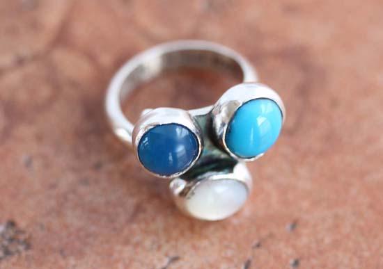 Nakai Navajo Turquoise Lapis Pearl Ring Size 6