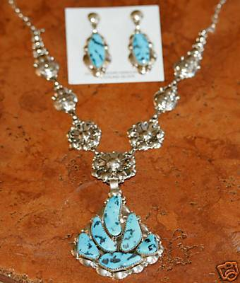 Navajo Silver Turquoise Necklace Set by Clem Nalwood