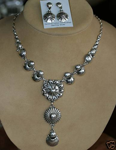 Navajo Sterling Silver Necklace Set by Clem Nalwood