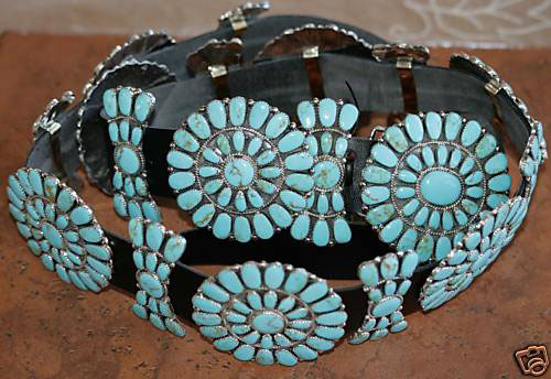 Navajo Leather Turquoise Concho Belt By J Williams