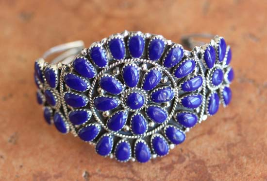 Navajo Silver Lapis Cluster Bracelet by J Williams