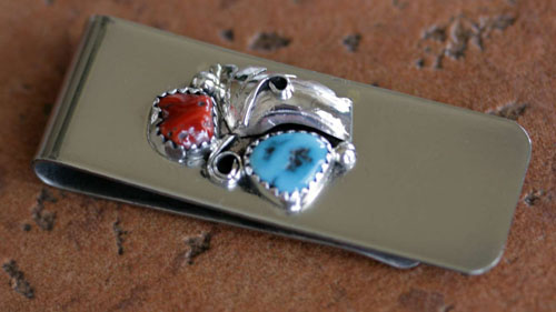 Navajo Native American Turquoise Coral Money Clip