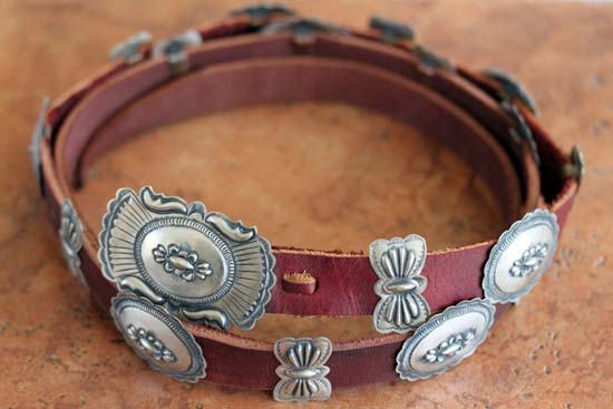 Navajo Leather Sterling Silver Concho Belt