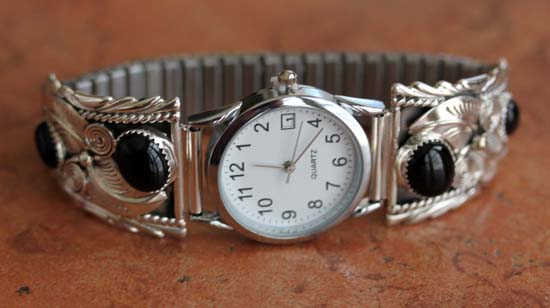 Navajo Silver Onyx Men's Watch