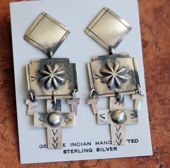 Navajo Sterling Silver Cross Earrings