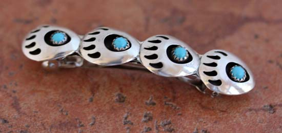 Navajo Silver Turquoise Bear Paw Barrette