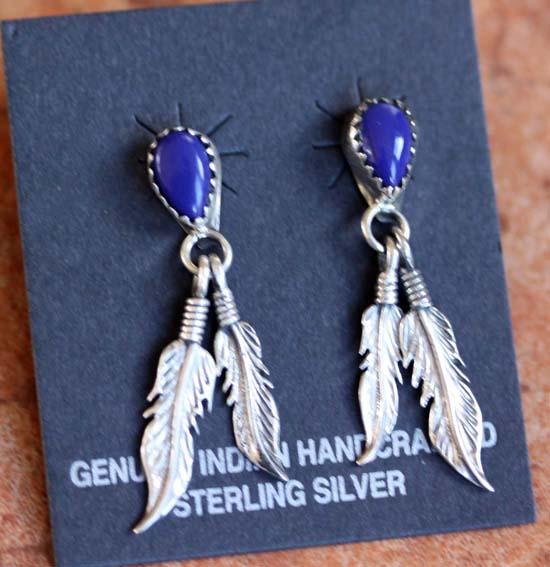 Navajo Sterling Silver Lapis Earrings