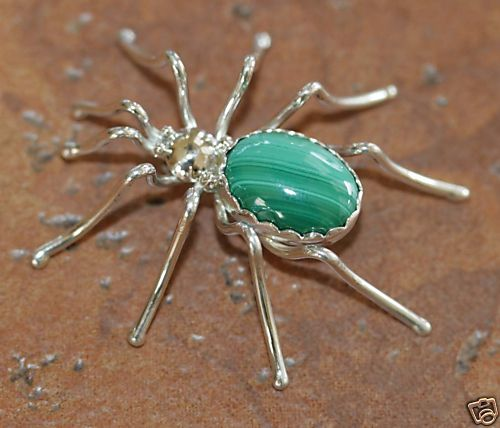 Navajo Indian Silver Malachite Spider Pin by E Spencer