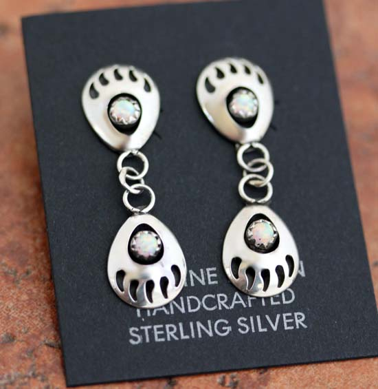 Navajo Bear Paw Earrings