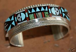 Zuni Indian Multi_Stone Sunface Bracelet by R&L Vassit