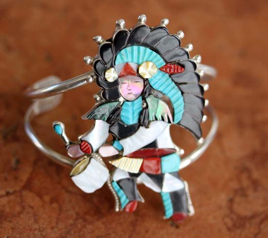 Zuni Silver Kachina Dancer Bracelet