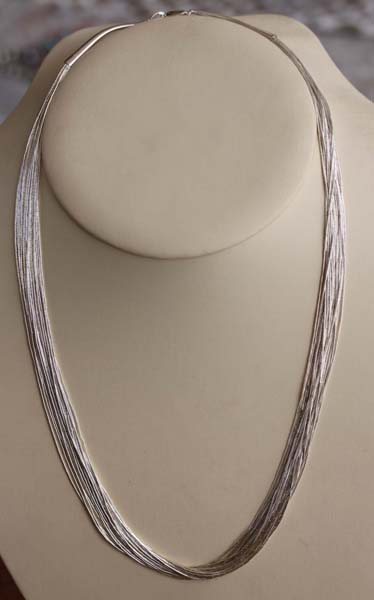 Beaded Liquid Silver 30 Strand Necklace