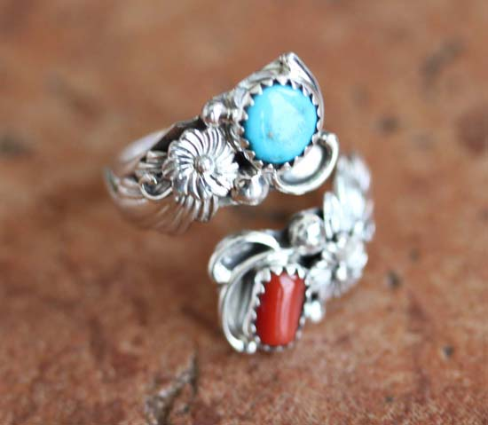 Navajo Silver Turquoise Coral Ring Size 6_9
