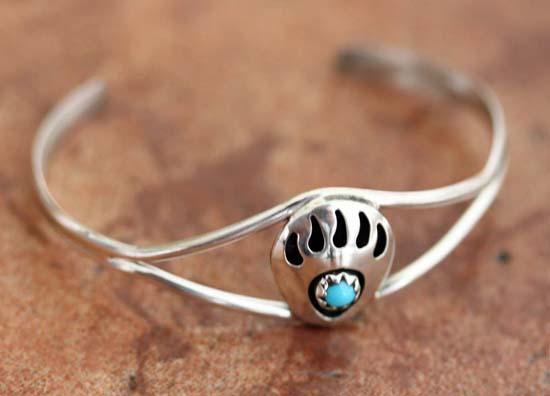 Navajo Sterling Turquoise Children's Bear Paw Bracelet
