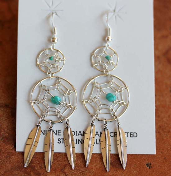 Navajo Silver Dream Catcher Earrings