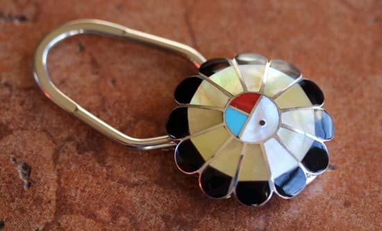 Zuni Silver Sunface Key Chain