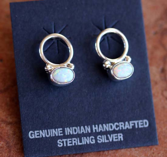 Navajo Silver Created Opal Earrings