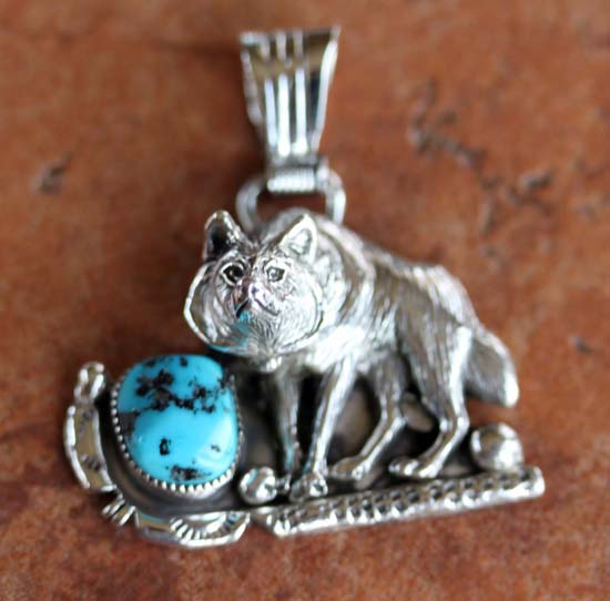 Navajo Silver Turquoise Wolf Pendant