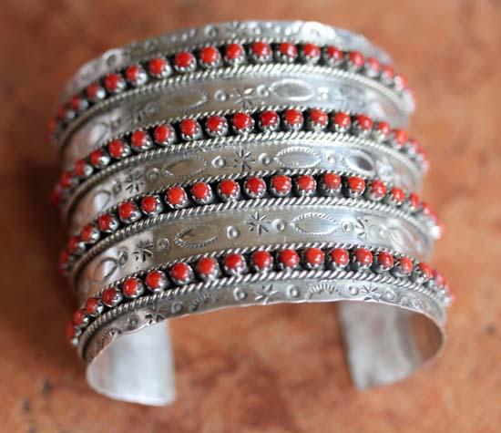 Zuni Silver Coral Bracelet by JP Ukestine