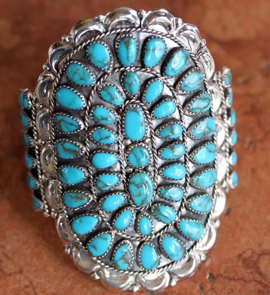Navajo Sterling Silver Turquoise Cluster Bracelet