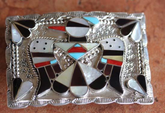 Zuni Silver Multi_Stone Thunderbird Belt Buckle