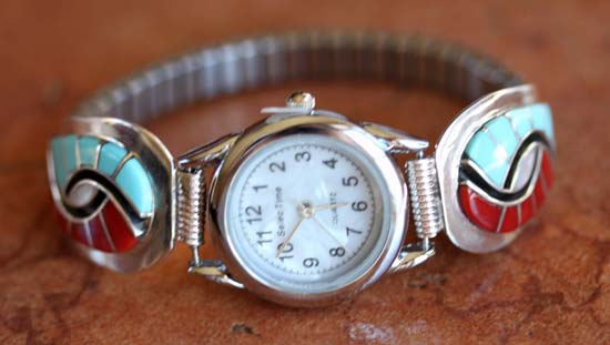 Zuni Silver Multi_Stone Inlay Ladies Watch