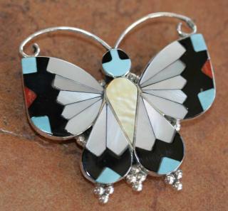 Zuni Indian Butterfly Pin/Pendant by A Dishta