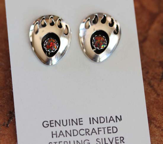 Navajo Created Opal Bear Paw Earrings