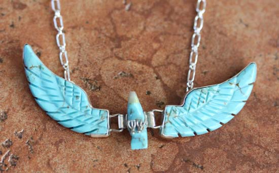 Navajo Silver Eagle Turquoise Necklace