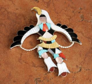 Zuni Eagle Dancer Pin/Pendant by J Beyuka