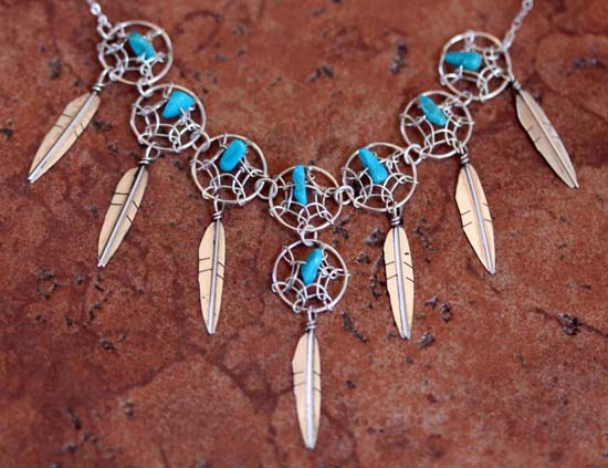 Navajo Silver Turquoise Dream Catcher Necklace