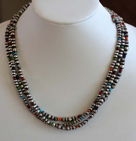 Navajo Silver Beaded Nugget Necklace