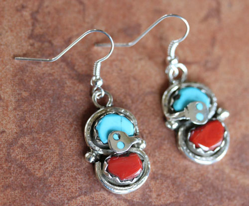 Zuni Indian Turquoise Coral Earrings by Effie Calavaza