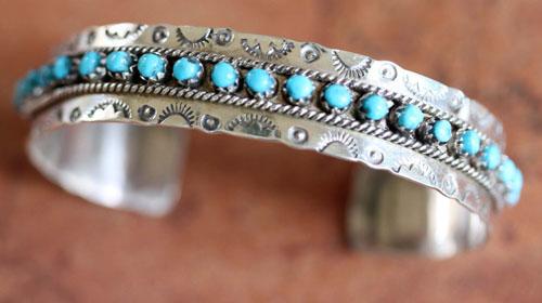 Zuni Indian Silver Turquoise Bracelet by JP Ukestine