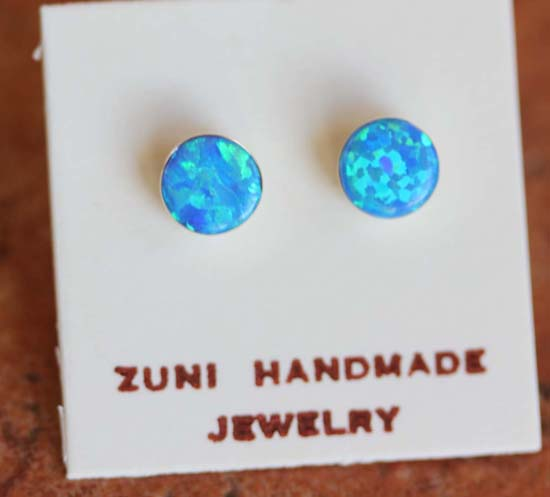 Zuni Silver Created Opal Earrings