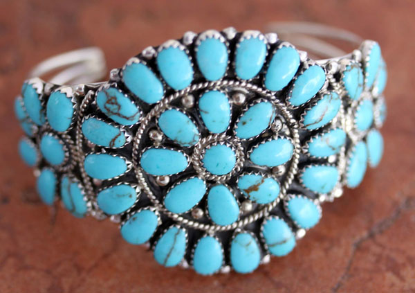 Navajo Silver Turquoise Cluster Bracelet by Williams