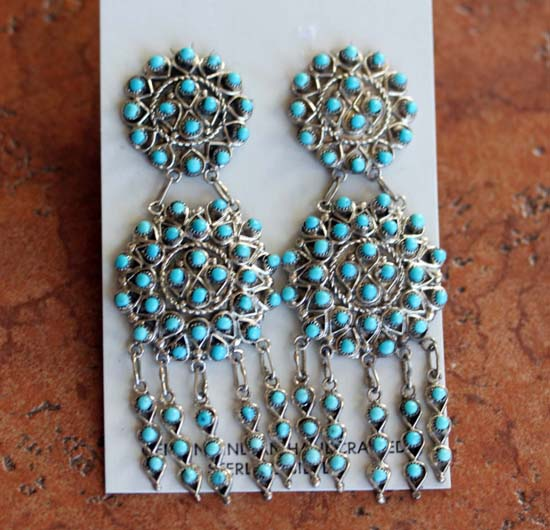 Zuni Jewelry Silver Turquoise Earrings