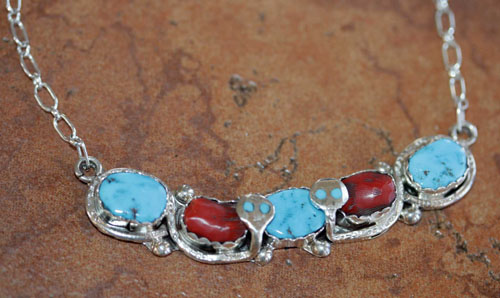 Zuni Indian Turquoise Coral Necklace By Effie Calavaza