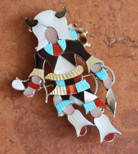 Zuni Indian Kachina Pin/Pendant by Jon Beyuka