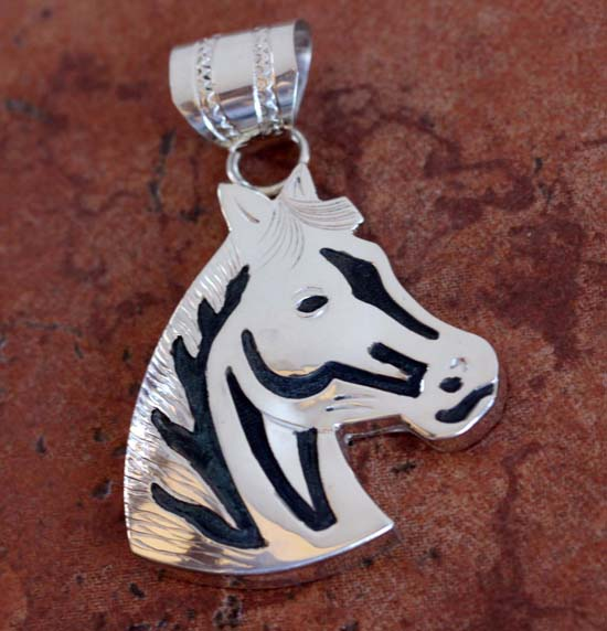 Navajo Silver Horse Pendant