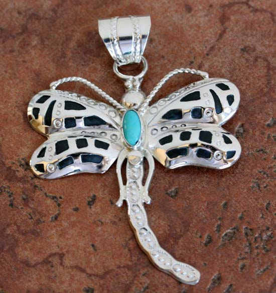 Navajo Turquoise Dragonfly Pendant