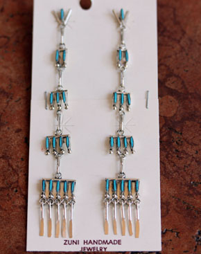 Zuni Silver Needlepoint Turquoise Earrings