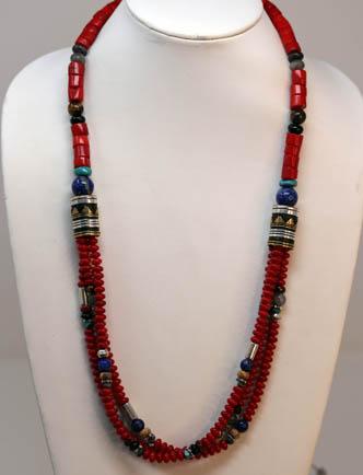 Navajo Silver Coral Necklace By R Singer