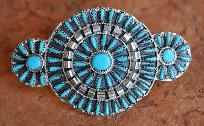 Navajo Turquoise Cluster Barrette