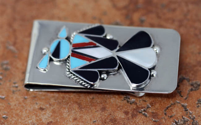 Zuni Multi_Stone Bird Money Clip
